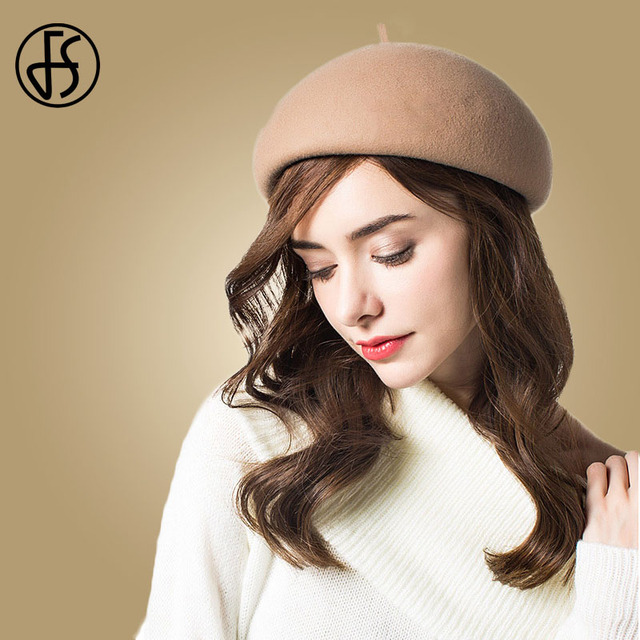 e74b42f431bed FS damas blanco negro boina de lana sombrero de las mujeres de invierno  Boinas Vintage francés