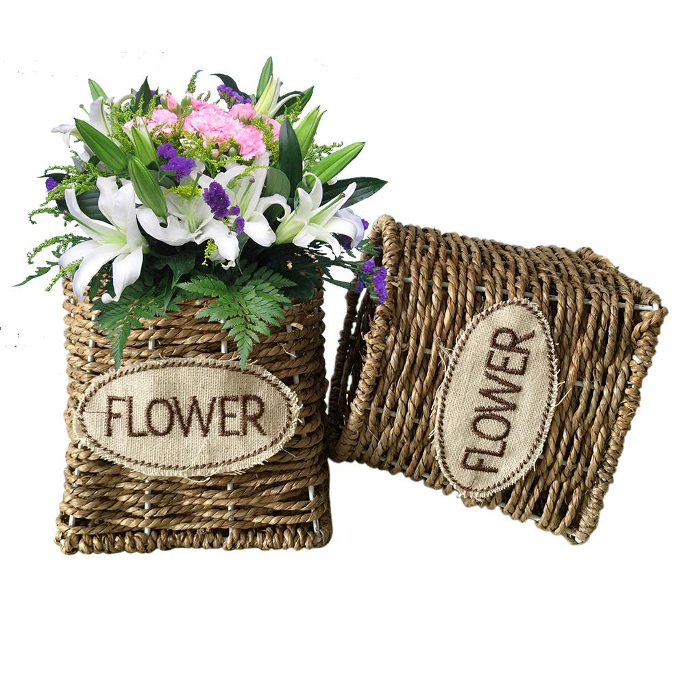 Intelligent Straw Garden Flower Pot Handmade Sundries Organizer Rattan Plant Box Wicker Basket Nursery Pots Garden Pots & Planters