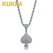Xukim Jewelry AAA Cubic Zirconia Iced Out Hip Hop Silver Gold Spade Pendant Necklace