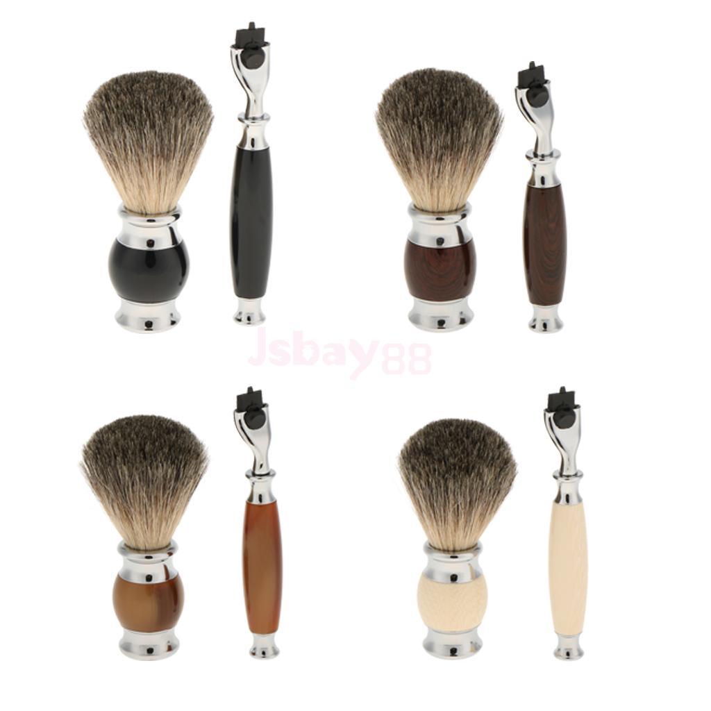 High Quality Professional Mens Salon Barber Shaving Brush Beard Shave Safety Shave Tool Handle Set Kit w/ Gift Box