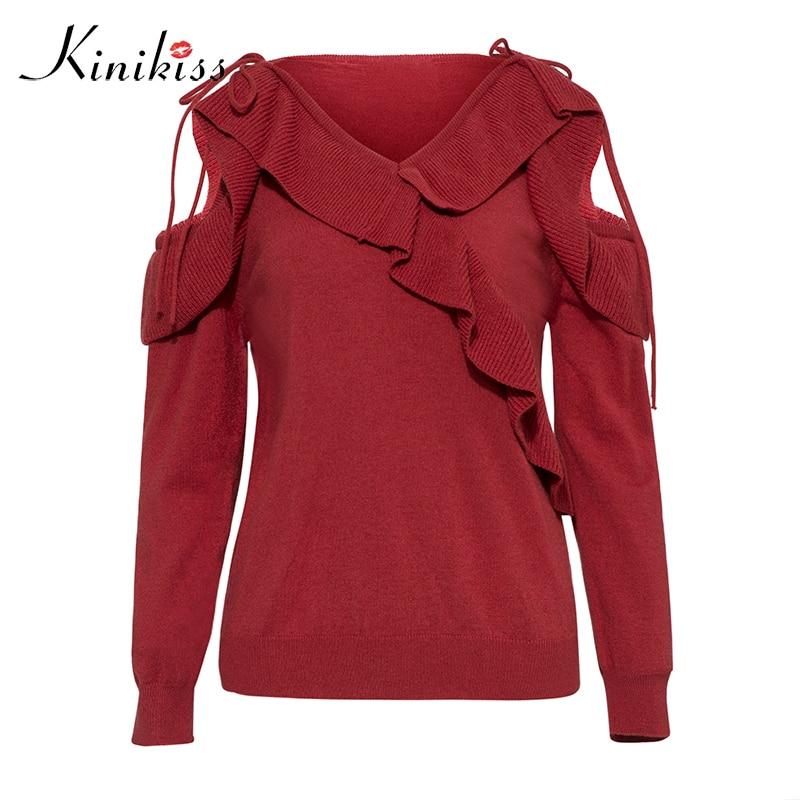 Kinikiss New Fashion Women Sweater Female Ruffle Red Thin Hollow Outerwear Autumn Short Design Knit Long-sleeve Sweater 11.11