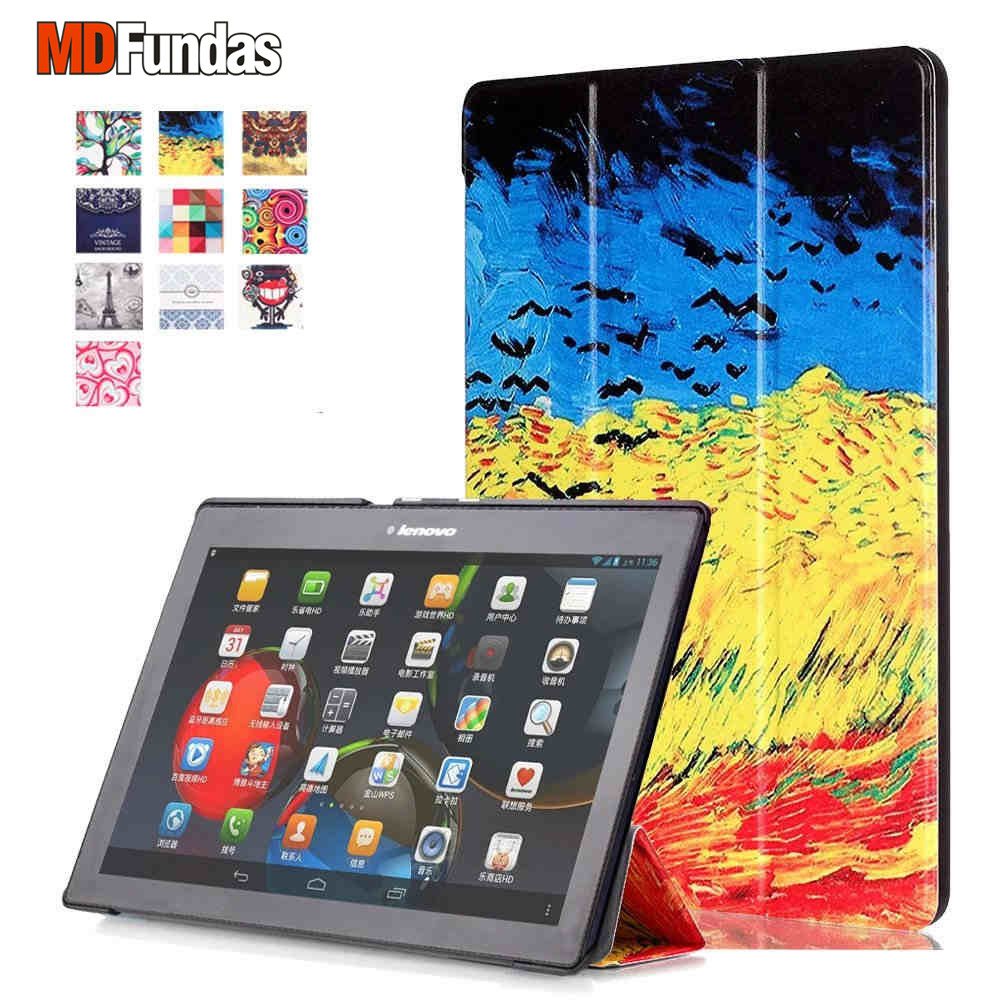 MDFUNDAS For Lenovo TAB 2 A10 A10-70 X30F/Tab 3 10 Business/Plus TAB3-X70F/N Tablet Case Colorful Print Cover Flip Leather Coque case for lenovo tab 4 10 plus protective cover protector leather tab 3 10 business tab 2 a10 70 a10 30 s6000 tablet pu sleeve 10