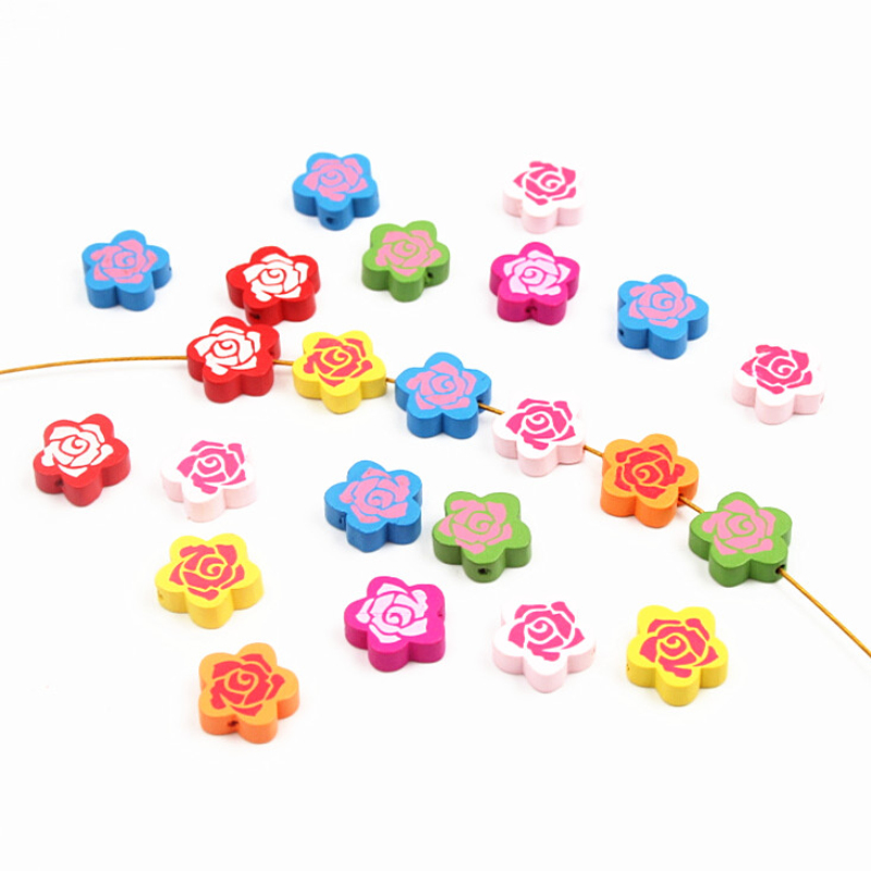 Beads 2016 New 30pcs Wooden Beads Rose Flowers Spacer Beading Wood Beads 20mm Toys For Baby Diy Crafts Kids Toys & Pacifier Clip