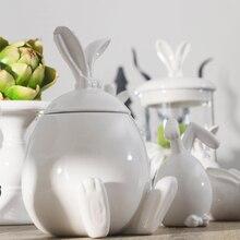 Красивая ручная роспись кролик конфеты банку Мультфильм керамические хранения jar Хороший дом украшения Сладкие конфеты закуски ящик для хранения танк