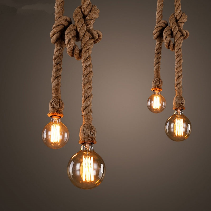 Retro Wire Hemp Rope Pendant Lights Bar DIY Creative Led Hemp Rope Pendant Lamp Vintage Loft Industrial Kitchen Lighting Fixture
