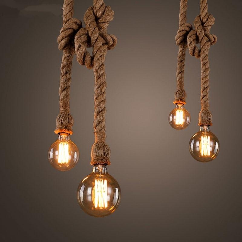 Retro tel kenevir halat kolye işıkları Bar DIY yaratıcı Led kenevir halat askılı lamba Vintage Loft endüstriyel mutfak aydınlatma armatürü