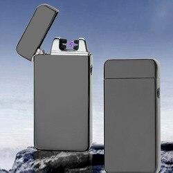 Encendedor de doble arco de inovación clásico a prueba de viento electrónico USB encendedor de recarga cigarrillo fumar encendedor eléctrico 15 colores