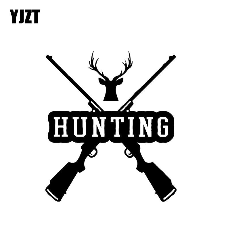YJZT 13.7*15.8CM Interesting Hunter Gun Decoration Car Sticker Vinyl Bumper High Quality Decals Accessories C12-0314