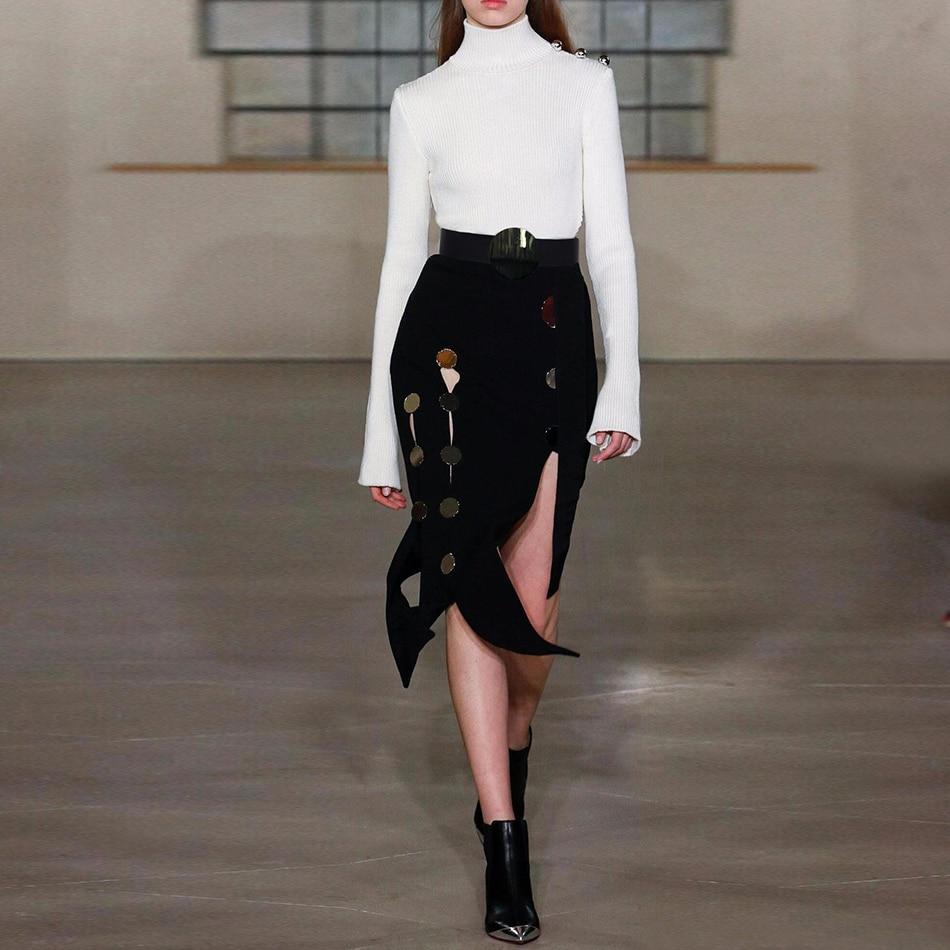 Adyce 2019 New Summer Bandage Skirt Women Sexy Black Color Sash Button Midi Club Skirts Celebrity