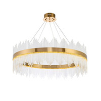 NEW Design Luxury Modern Crystal Round LED Pendant Lights Gold Metal Transparent Glass Rods Fashion Crystal Lamp Fixtures
