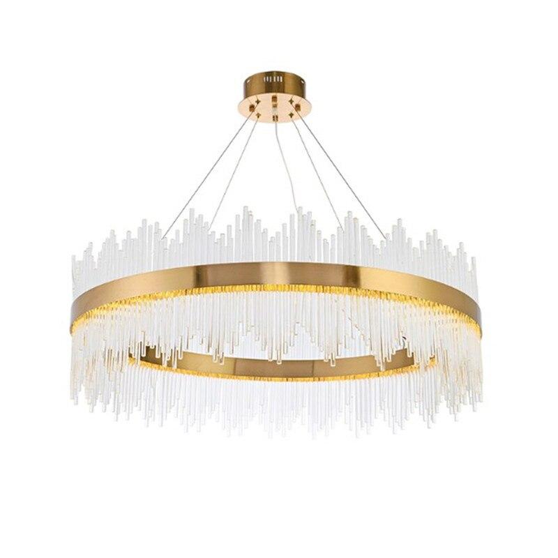 Nouveau Design de luxe moderne cristal rond pendentif LED lumières or métal Transparent verre tiges mode cristal luminaires