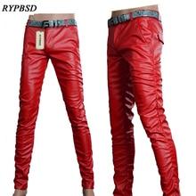 6 цветов, мужские кожаные штаны, новинка, мужские кожаные штаны из ПУ кожи, модные высококачественные мотоциклетные мужские обтягивающие брюки из искусственной кожи, 27-36