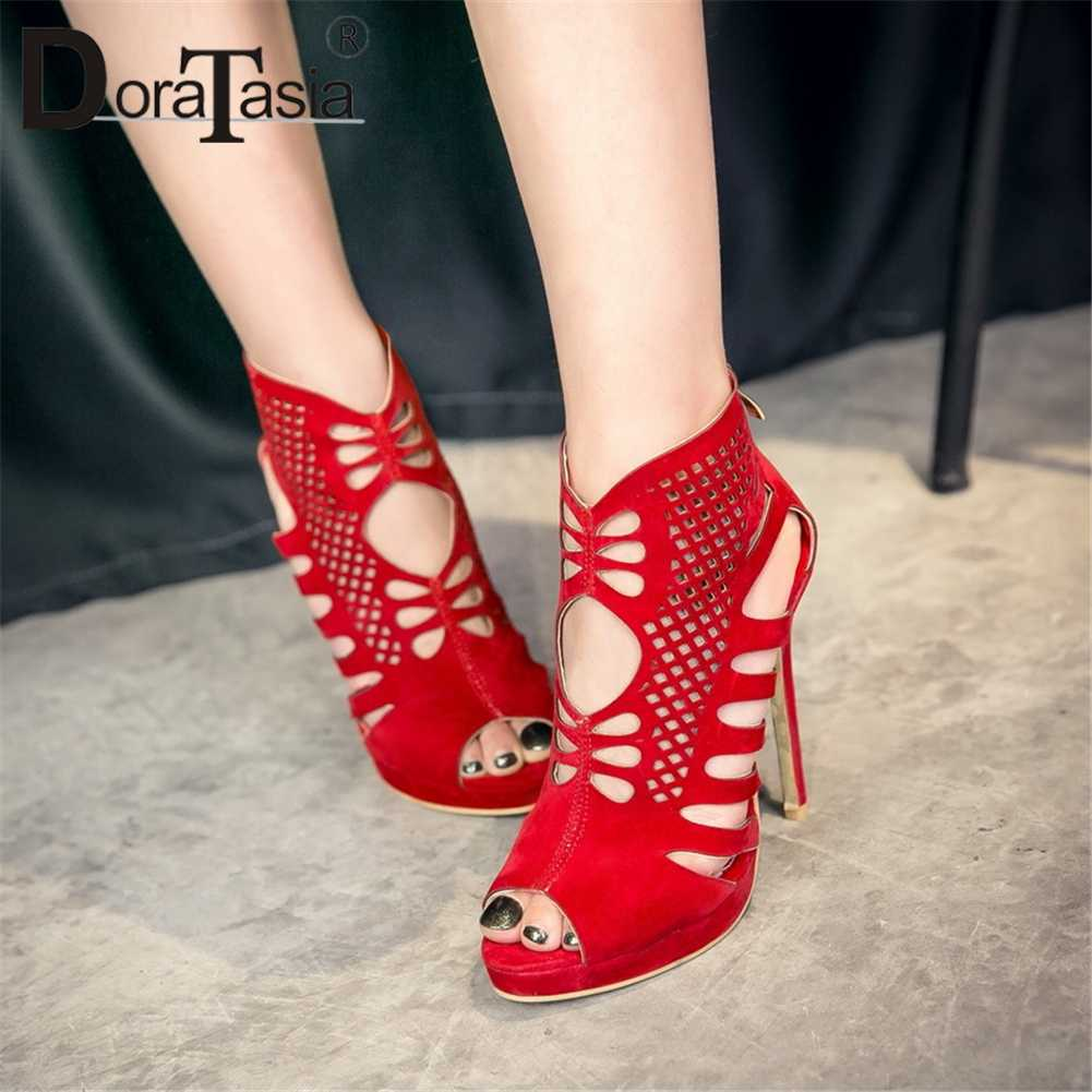 DoraTasia 2019 חדש בתוספת גודל 28-50 קיץ מגפי Fretwork 11.5 cm סופר דק עקבים גבוהים מסיבת Summper מגפיים עבור גבירותיי נעלי אישה
