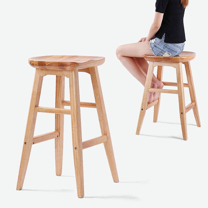 Us 110 22 12 Off Solid Wood Bar Stool American Modern Minimalist Front Desk Creative European Home High Chair In