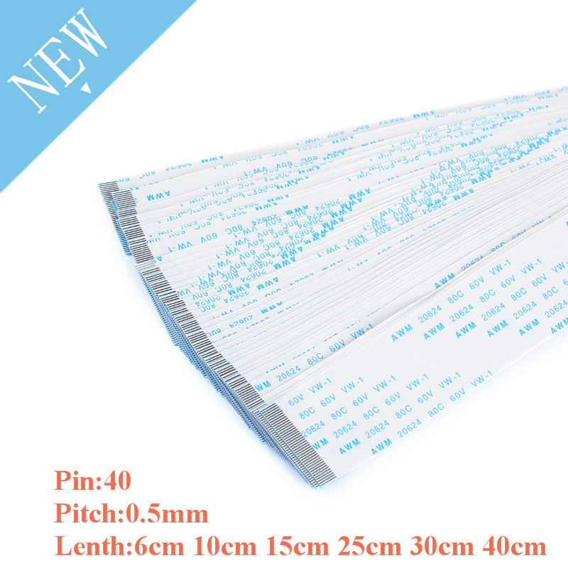10PCS 40 Pin FPC/FFC Ribbon Flex Cable Pitch 0.5MM With 6cm 10cm 15cm 25cm 30cm 40cm Length Flat Wire Cable Forward Direction