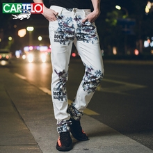 CARTELO brand fashion stretch mens jeans white letters printing jeans men casual slim fit trousers denim printed jeans pants