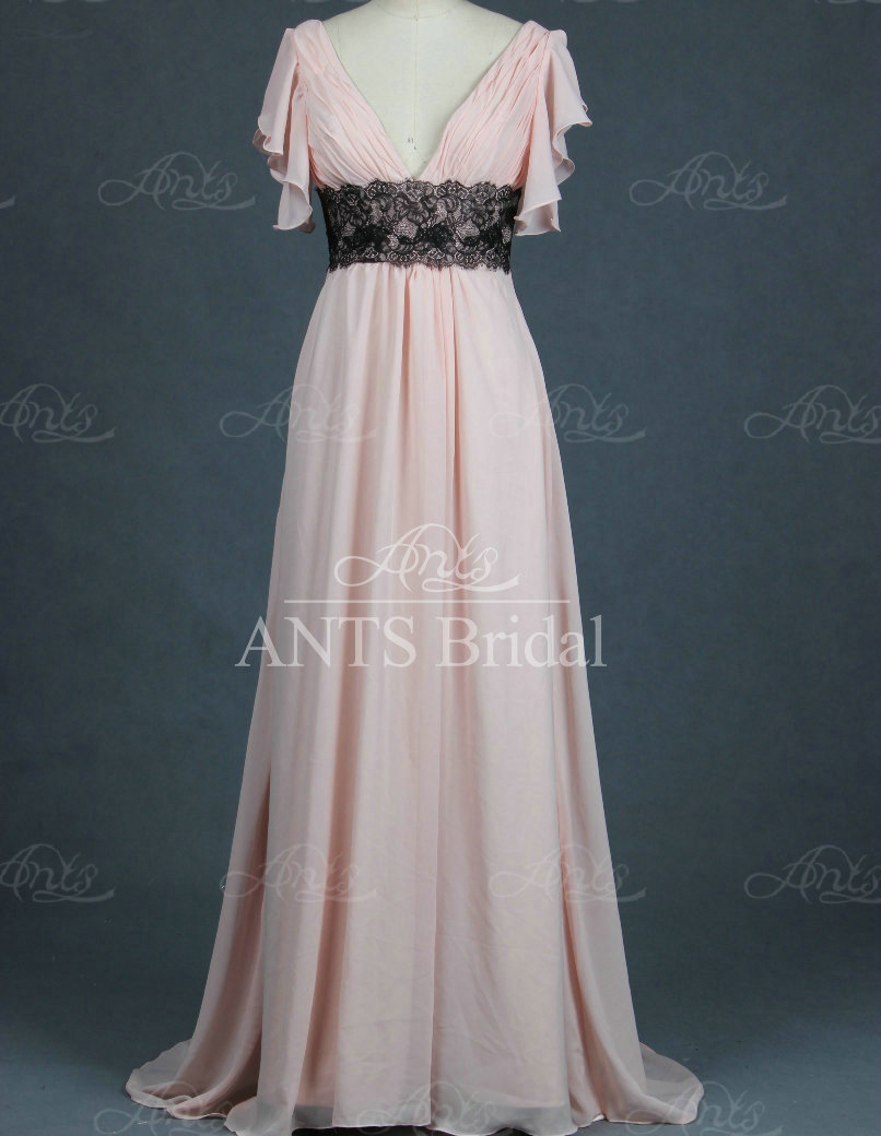 New style v neck pink short sleeve bridesmaid dresses with for Wedding dresses less than 300