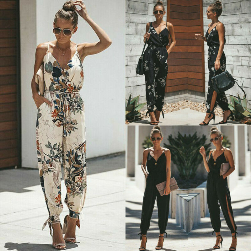 Hot Casual Women Sleeveless Loose Baggy Trousers Overalls Pants Solid Romper Jumpsuit