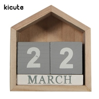 Kicute Retro Design House Shape Perpetual Calendar Wood Desk Wooden Block Home Office Supplies Decoration Artcraft