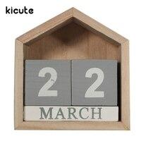 Kicute Retro Design House Shape Perpetual Calendar Wood Desk Wooden Block Home Office Supplies Decoration Artcraft