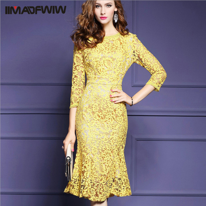 Yellow S 3XL Lace Long Slim Dress Women Occident O neck Package Hip Dresses For Female 2017 Spring New High Quality