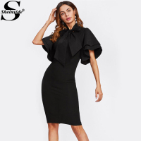 Sheinside Bow Tie Neck Layered Flare Sleeve Pencil Dress 2017 Black Fashion Stand Collar Short Sleeve