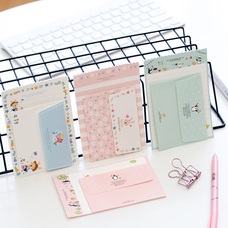 1 Set=4 Letters + 2 Envelopes Kawaii Rabbit Penguin Flower Paper Letter Stationery Set Writing Greeting Birthday Message