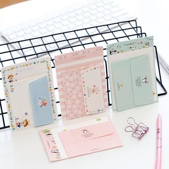 1 Set=4 Letters + 2 Envelopes Kawaii Rabbit Penguin Flower Paper Letter Stationery Set Writing Greeting Birthday Message
