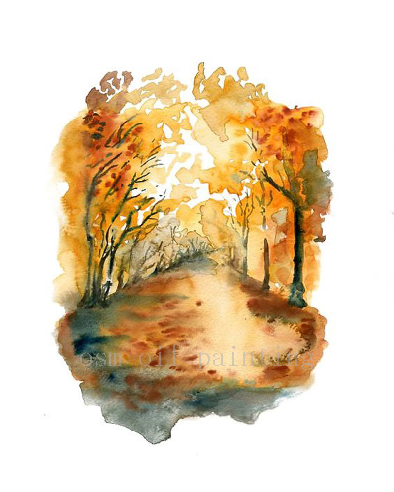 Handmade Modern Wall Artwork Autumn Forest Landscpe Pictures Hand Painted Watercolor Orange Autumnal Tree Oil Painting on Canvas