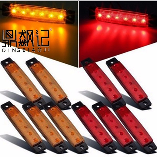 20 pz 6 led red, white blue yellow clearance car truck bus truck trailer side indicator indicator lamp 24 v, 12 v