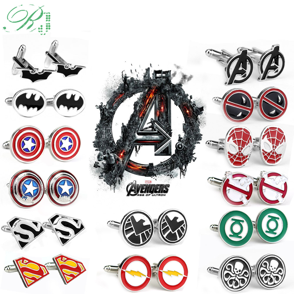 RJ Avengers Cufflinks Captain America Thor Batman Ghostbusters Deadpool Flash Men Tie Clips Buttons Cufflinks Jewelry Gift