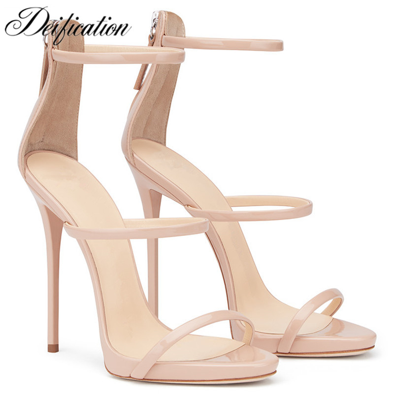 Deification Patent Leather High Heels Handmade Sexy Stiletto Party Wedding Shoes Ankle Strap Solid Summer Sandalias Mujer 2018