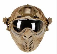 Capacete tático com máscara militar airsoft exército wargame motocicleta ciclismo caça equitação atividades ao ar livre