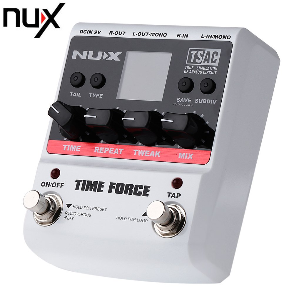 NUX TIME FORCE Delay Guitar Effect Pedal Multi Digital Delay 11 Delay Effects 40 seconds Loopping time True Bypass Tail Retain nux 1 8 lcd time force delay guitar effect pedal white black