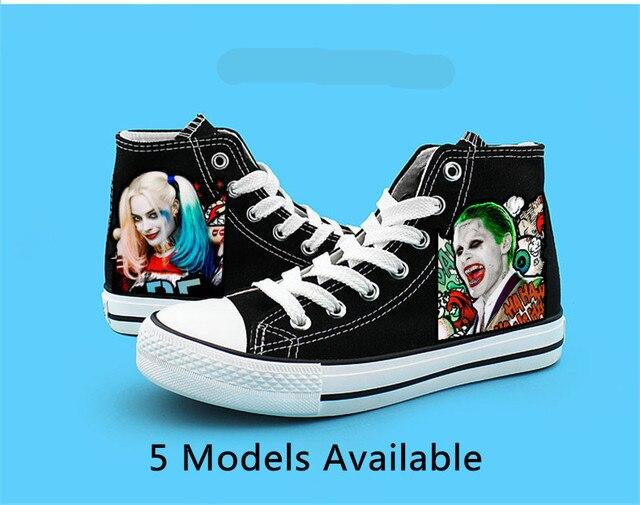 2147a63bf5ccf3 İntihar kadro moda kanvas ayakkabılar kadınlar rahat yüksek top star düz  shoesprinting ayakkabı harley quinn joker