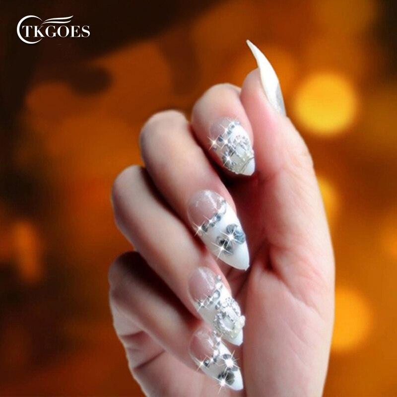 TKGOES 500PCS White Stiletto Acrylic Nail Tips Artificial 10 Sizes ...