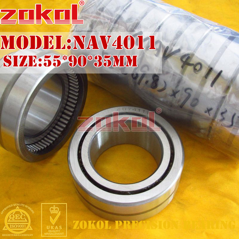 ZOKOL bearing NAV4011 Full bore needle roller bearing with inner ring 55*90*35mm rna4913 heavy duty needle roller bearing entity needle bearing without inner ring 4644913 size 72 90 25