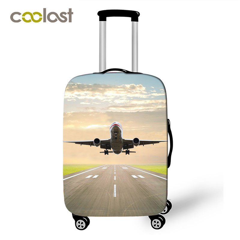 Cool Aircraft Travel Suitcase Covers Men Airplane Elastic Luggage Protective Covers Helicopter valise bagages roulettes Covers image