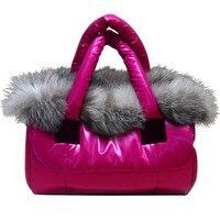 Fashion Handbag Shoulder Tote Women Fox Fur Space Cotton Feather Down Bag Luxury Brand Designer Pure Color sac a main Bolsa