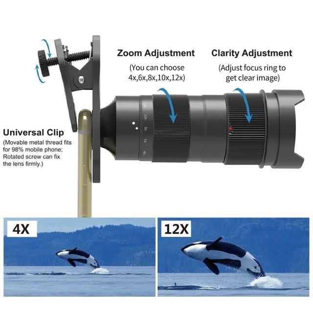 Apexel Mobile Phone Camera lens Optical 4-12X Zoom Telephoto Telescope Lens+Mini selfie Tripod for Samsung Huawei more phones 2