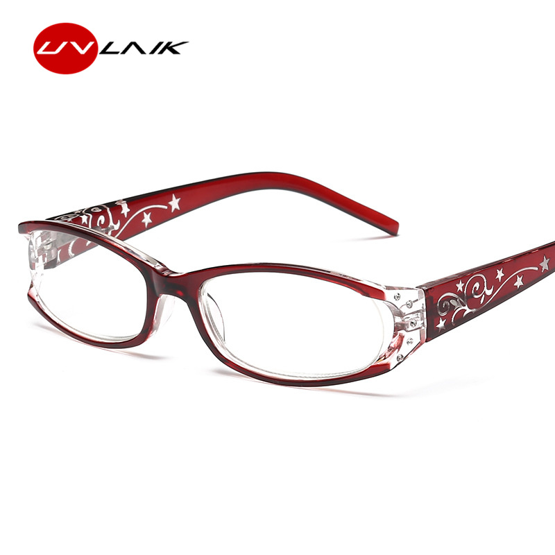 UVLAIK Oval Cat Eye Reading Glasses Women Retro Imitation Diamond Glasses For Reader +1.0 +1.5 +2.0 +2.5 +3.0 +3.5 Diopter