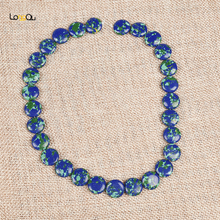 Free Shipping Oval Synthetic Green Gold Phoenix stone 14*5mm Necklace Bracelet 15 Inch Blue Bottom Camouflage Jewelry