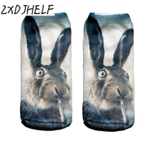 ZXDJHELF Women Funny Rabbit Animal 3D Print Socks Casual Breathable Low Cut Ankle Socks Cotton Hosiery Unisex Printed Sock S014