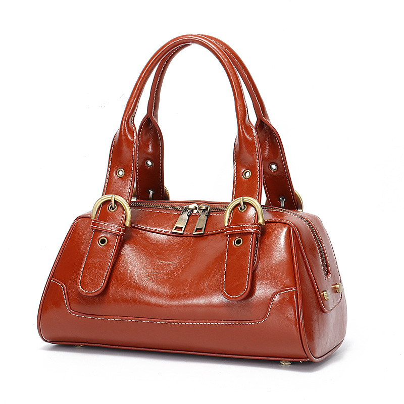 Baguette Genuine Leather Cow Leather Totes Handbags & Crossbody Bags Polyester Two Women Solid