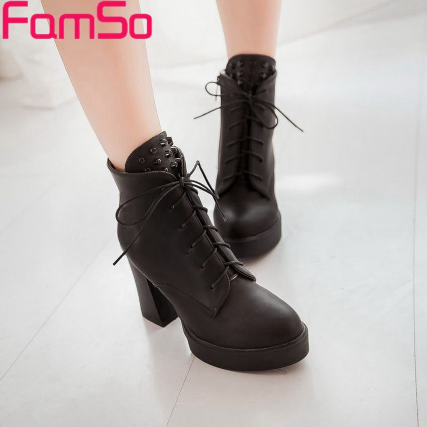 Free shipping 2016 Sexy font b Women b font Autumn High Heels boots Rivets Shoes Platforms