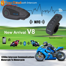 Black V8 Motorcycle Helmet Remote ControI Handle Interphone Bluetooth Intercom Headset 5 Riders With NFC Function US UK EU AU