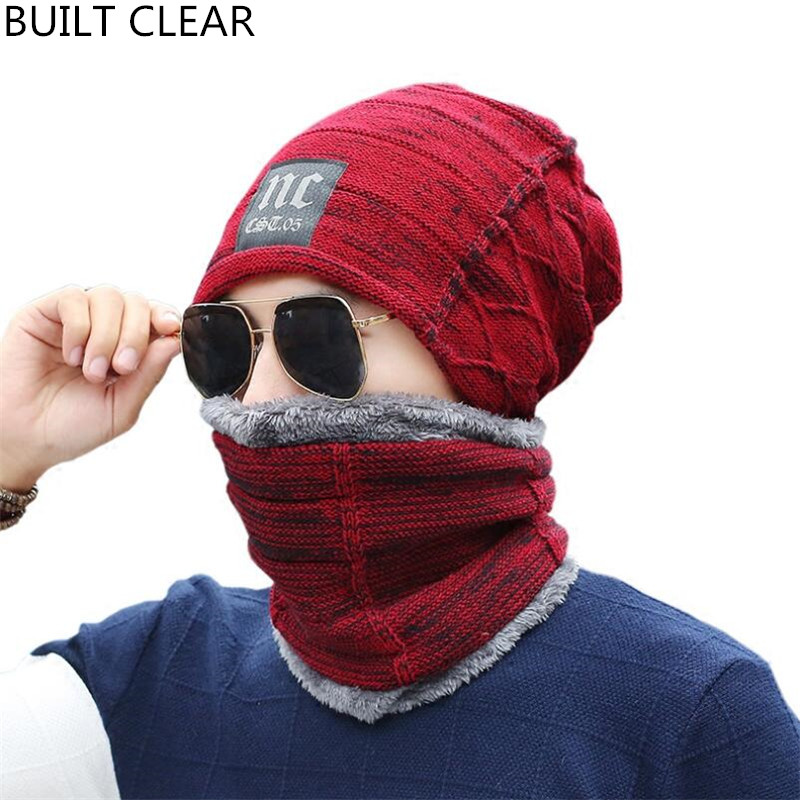 Hat men's autumn and winter knitted hat wool hat collar two-piece set plus velvet thickening warm outdoor riding female ski cap autumn winter male hat plus velvet thick knitted wool hat scarf set men warm beanie fashion snow earflaps plush collar cap sets