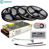 DC 12V RGBW LED Strip 5050 ip65 Waterproof Flexible Led Light + 2.4G RF Remote Controller + Power adapter Kit 20M 15M 10M 5M