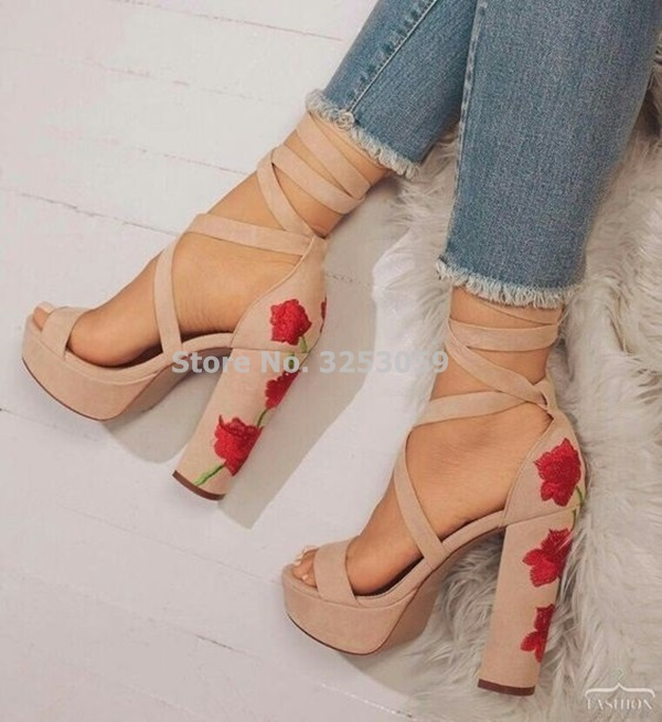 Best Selling Nude Black Suede Leather Strappy Shoes Exquisite Embroidered Heels Sandals Thick High Heel Wedding Shoes DropshipBest Selling Nude Black Suede Leather Strappy Shoes Exquisite Embroidered Heels Sandals Thick High Heel Wedding Shoes Dropship