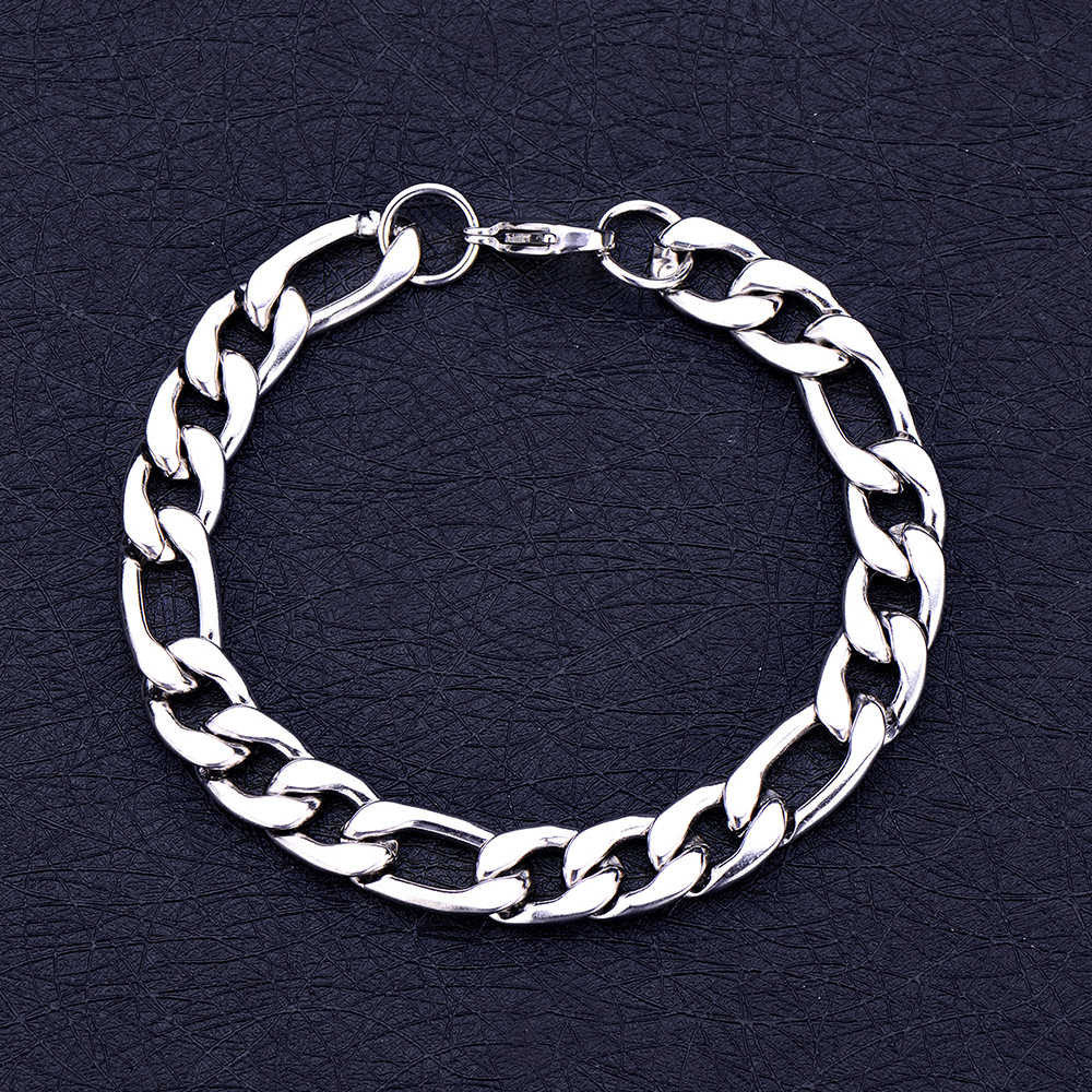Wholesale 6MM 8MM 10MM 316L Stainless Steel Figaro Chain Bracelet Fashion Men's Party Jewelry Christmas Brothers Gift